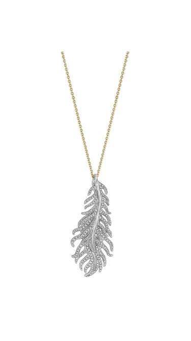 18K Gold Phoenix Feather Vertical Necklace
