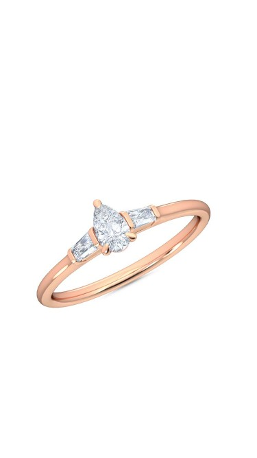 0.30 Ct Pear and Baguette Cut Petite Lab Grown Diamond Ring in 14K Rose Gold (E-F, VS1-VS2, 0.30 cttw) by MadeForUs