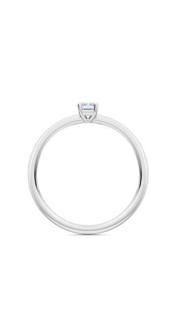 0.25 Ct Emerald Cut Petite Lab Grown Diamond Ring in 14K White Gold