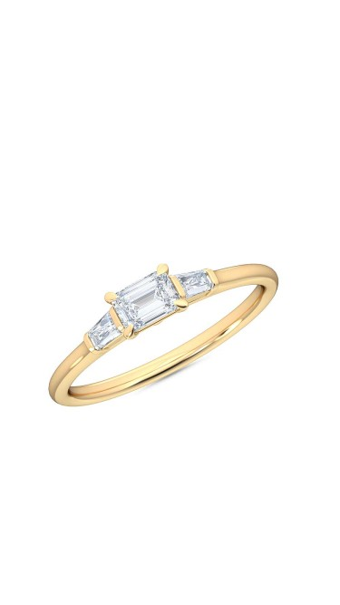 0.30 Ct Horizontal Emerald and Baguette Cut Petite Lab Grown Diamond Ring in 14K Yellow Gold (E-F, VS1-VS2, 0.30 cttw) by MadeForUs