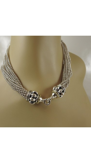 Lagos Caviar 18K Yellow Gold 925 Sterling Silver Necklace