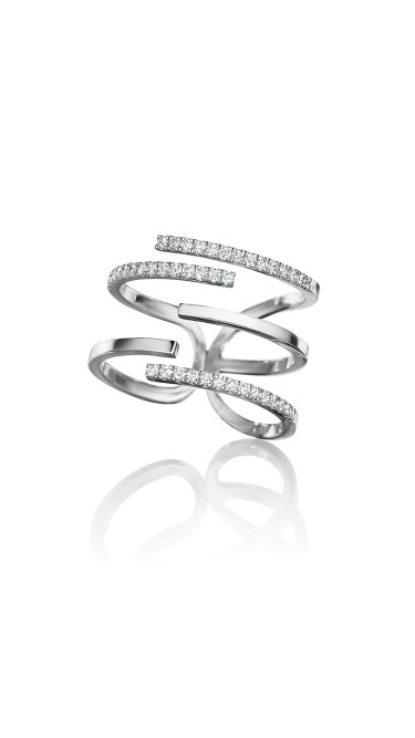 Piece Stick Diamond Pave Ring