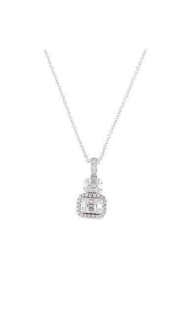 Mosaic Collection 18K White Gold Diamonds Necklace