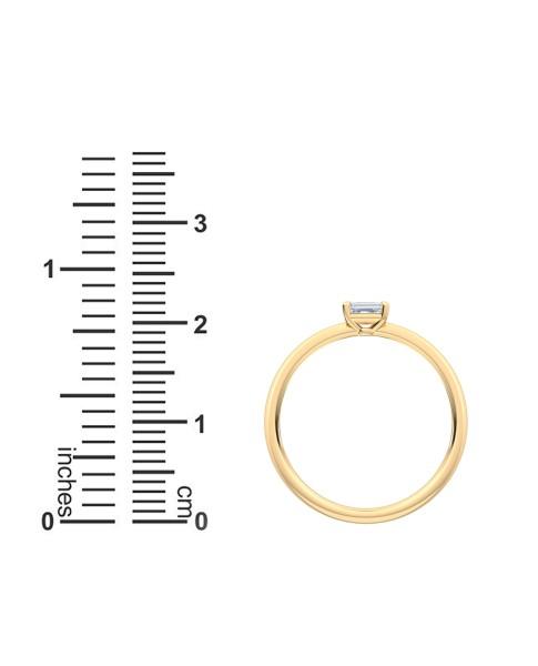 0.25 Ct Horizontal Emerald Cut Petite Lab Grown Diamond Ring in 14K Yellow Gold