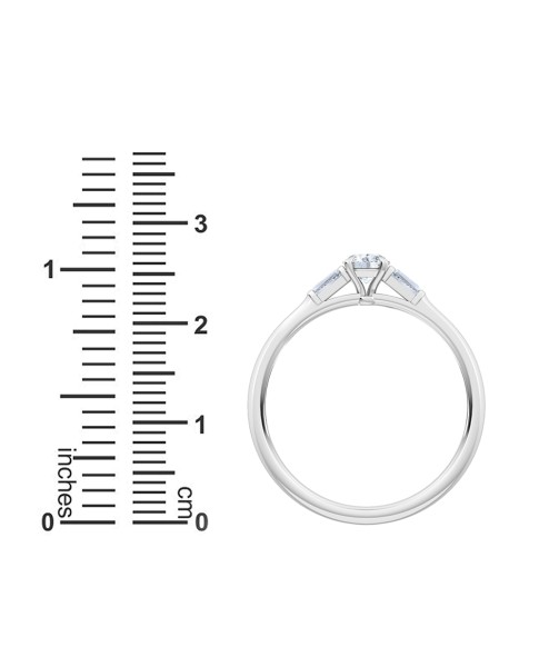 0.30 Ct Round and Baguette Cut Petite Lab Grown Diamond Ring in 14K White Gold (E-F, VS1-VS2, 0.30 cttw) by MadeForUs