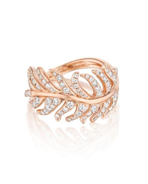 18K Gold Phoenix Feather Center Pave Diamond Ring