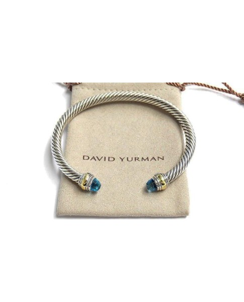 David Yurman Cable Classic 14K Yellow Gold and Sterling Silver Blue Topaz Bracelet
