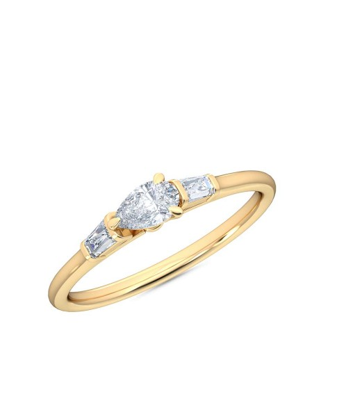 0.30 Ct Horizontal Pear and Baguette Cut Petite Lab Grown Diamond Ring in 14K Yellow Gold