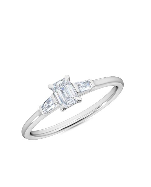 0.30 Ct Emerald and Baguette Cut Petite Lab Grown Diamond Ring in 14K White Gold (E-F, VS1-VS2, 0.30 cttw) by MadeForUs