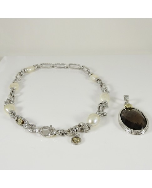 Judith Ripka 18K Yellow Gold 925 Sterling Silver Cultured Pearl Diamond Smoky Quartz Necklace