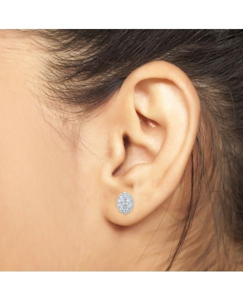 1.00 Ct Oval Shape Lab-Grown Diamond Halo Earrings set in 14K White Gold