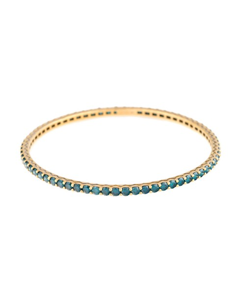 18K Yellow Gold Handset Blue Diamonds Pesak Bracelet