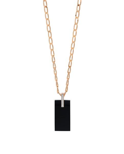 GINETTE NY 18K Rose Gold Onyx And Diamond Art Deco Necklace