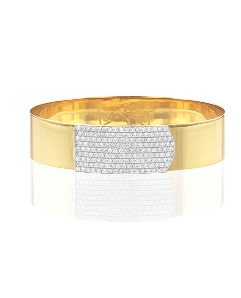 Yellow Gold and Diamond Large Strap Bracelet