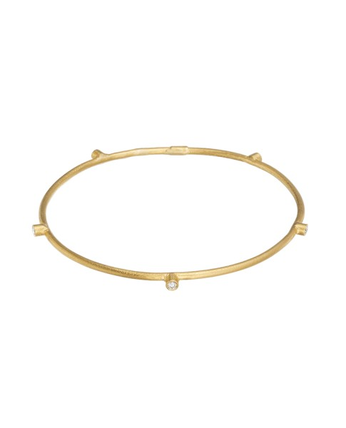 Yossi Harari Jewelry 24k Gold 5 Diamond Jane Stack Bangle