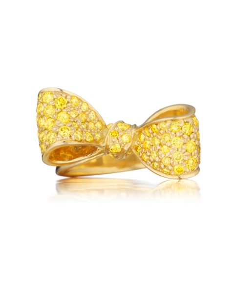 18K Gold Small Bow Gemstone Ring