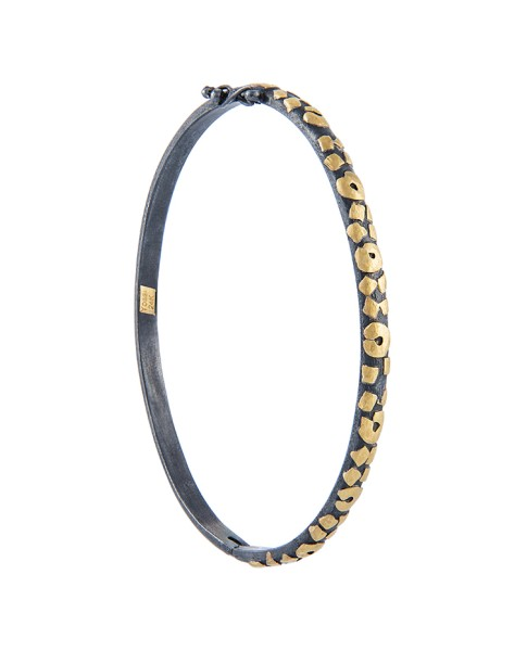 Yossi Harari Jewelry Jane 24k Gold & Oxidized Gilver Leopard Bangle