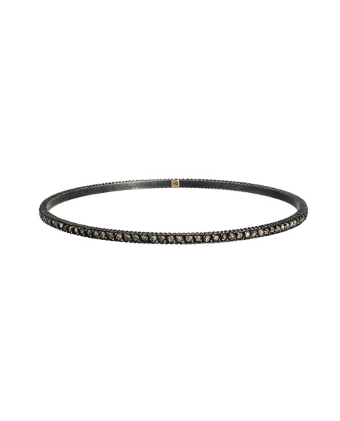 Yossi Harari Jewelry Oxidized Gilver Diamond Lilah Bangle