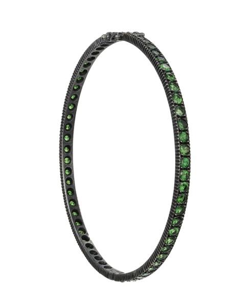 Yossi Harari Jewelry Oxidized Gilver Pave Tsavorite Lilah Bangle