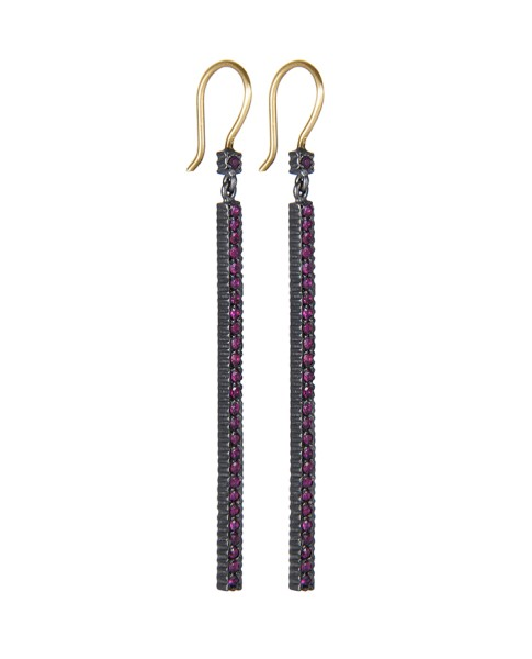 Yossi Harari Jewelry Oxidized Gilver Pave Ruby Stick Lilah Earrings