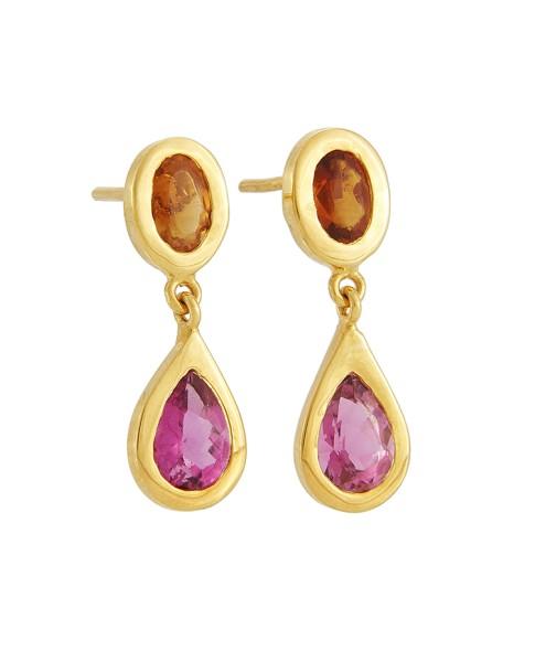 Yossi Harari Jewelry Roxanne 18k Gold Cirtine & Pink Tourmaline Mica Earrings