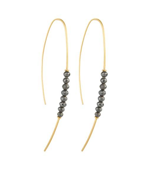 Yossi Harari Jewelry Jane 18k Gold & Black Diamond Beads Hoop Threader Earrings