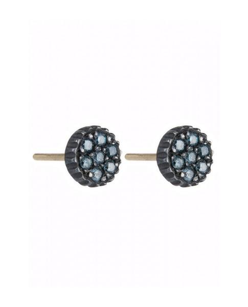 Yossi Harari Jewelry Oxidized Gilver Blue Diamond Lilah Earrings