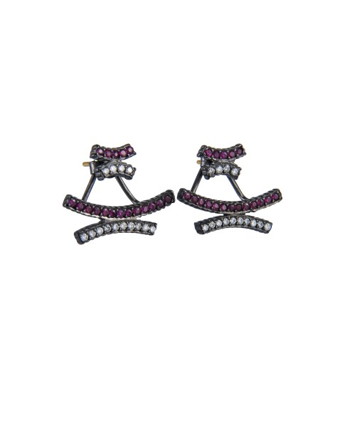 Yossi Harari Jewelry Lilah Oxidized Gilver Ruby And White Diamond Crisscross Stud Earrings