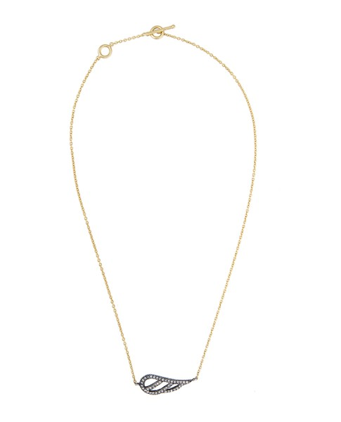 Yossi Harari Jewelry Lilah 18k Gold Diamond Feather Pendant Necklace