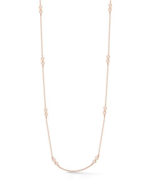 Rose Gold Lulu Jack Double Bezel Necklace