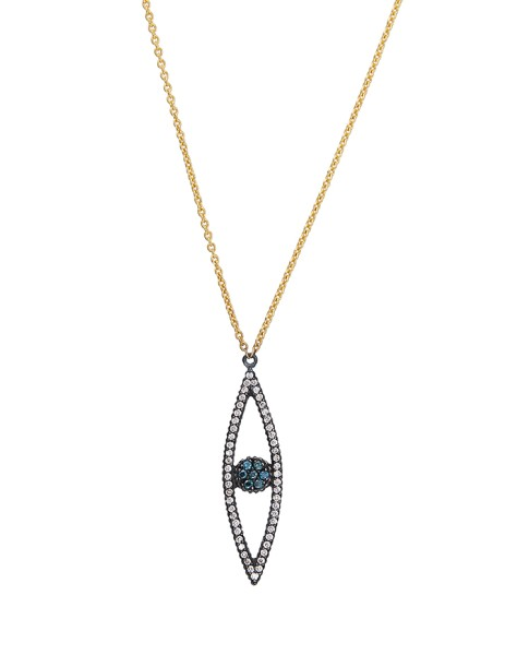 Yossi Harari Jewelry 18k Gold White & Teal Diamond Lilah Eye Shaped Pendant Necklace