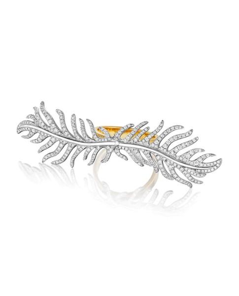 18K Gold Phoenix DoubleFeather Center Pave Diamond Ring