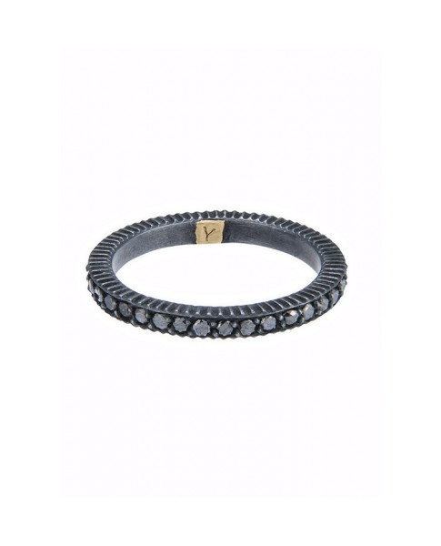 Yossi Harari Jewelry Lilah Oxidized Gilver Black Diamond Band Size 6
