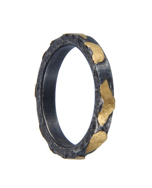 Yossi Harari Jewelry Jane 24k Gold & Oxidized Gilver Libra Stack Ring Size 6