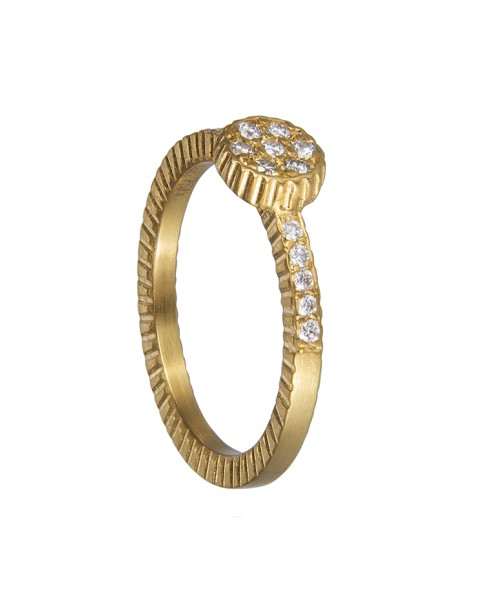 Yossi Harari Jewelry 18k Gold Diamond Lilah Stack Ring Size 6