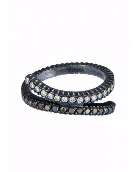 Yossi Harari Jewelry Lilah Oxidized Gilver Black & White Diamond Crisscross Ring Size 6