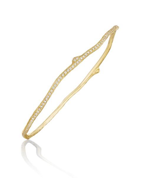Mimi So Wonderland 18K Gold Twig Bangle Bracelet with Diamonds 3mGgw