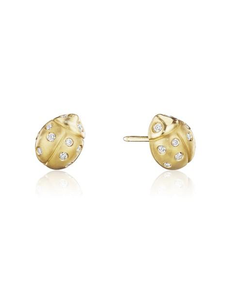 18K Gold Medium Wonderland Ladybug Diamond Stud Earrings