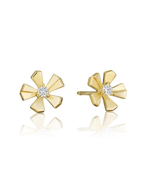 18K Gold Wonderland Small Pow Orchid Stud Earrings