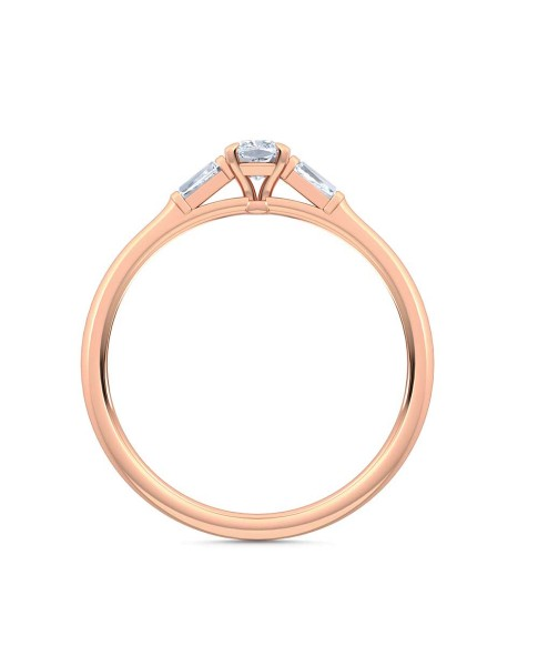 0.30 Ct Cushion and Baguette Cut Petite Lab Grown Diamond Ring in 14K Rose Gold