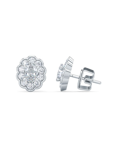 1.50 Ct Oval Shape Lab-Grown Diamond Halo Earrings set in 14K White Gold