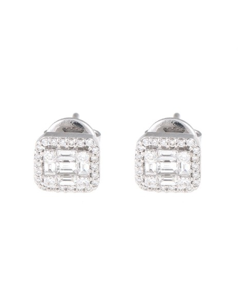 Mosaic Collection 18K White Gold Diamonds Earrings