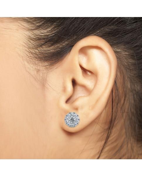 0.50 Ct Round Shape Lab-Grown Diamond Halo Earrings set in 14K White Gold