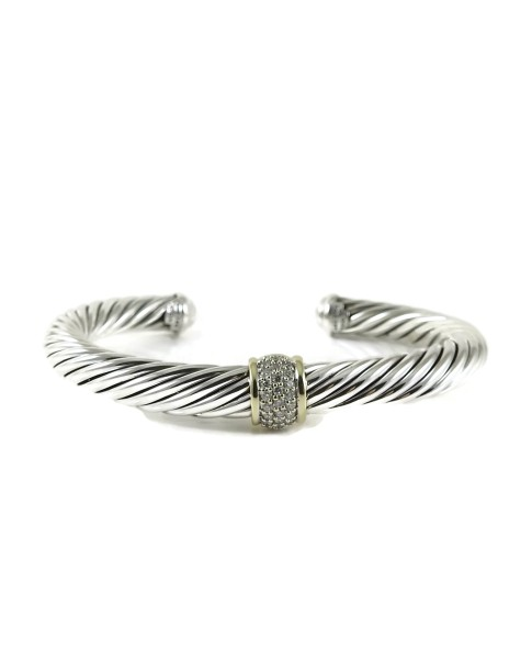 David Yurman Cable 18K Yellow Gold 925 Sterling Silver .21tcw Diamond Bracelet
