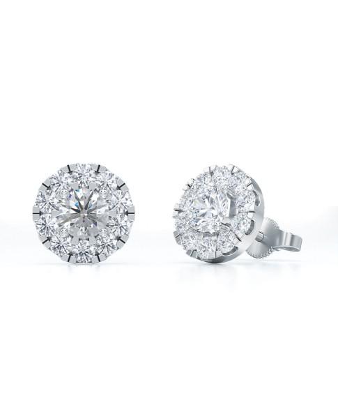 1.00 Ct Round Shape Lab-Grown Diamond Halo Earrings set in 14K White Gold
