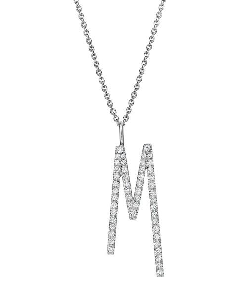 "Mimi So Type Letter ""M"" Pave Diamond Pendant"