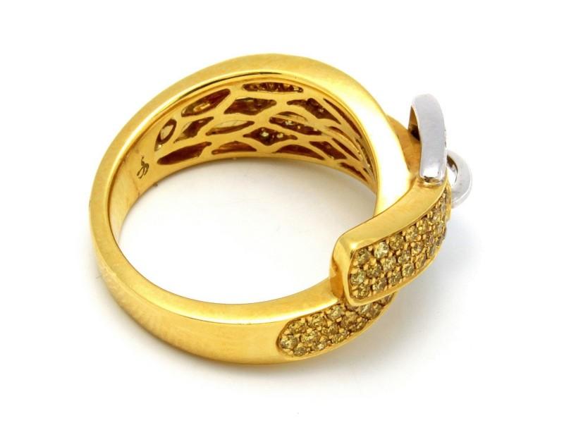 K White Gold Diamond Belt Buckle Ring