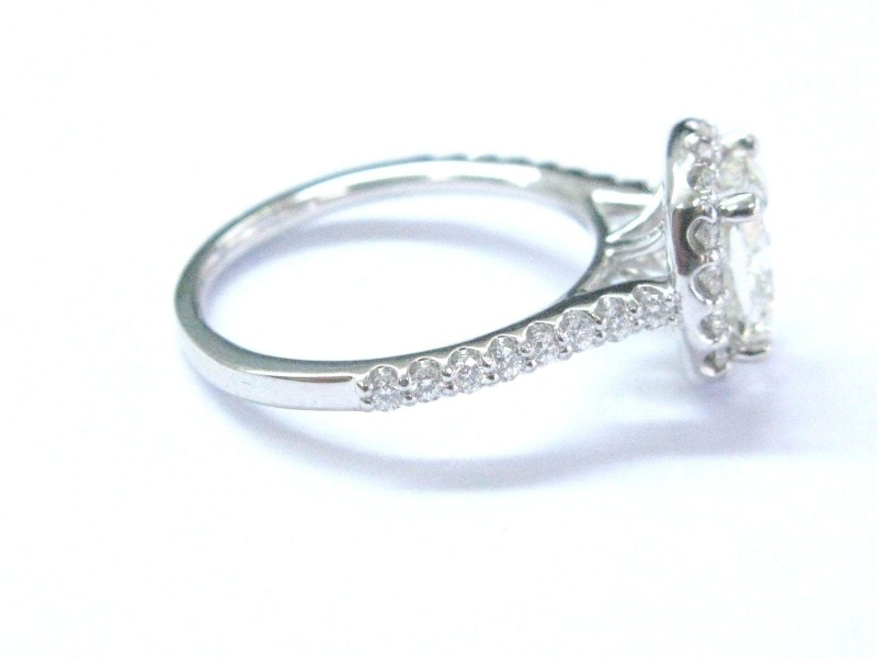 Ritani Platinum Diamond Halo Engagement Ring Size 6 5