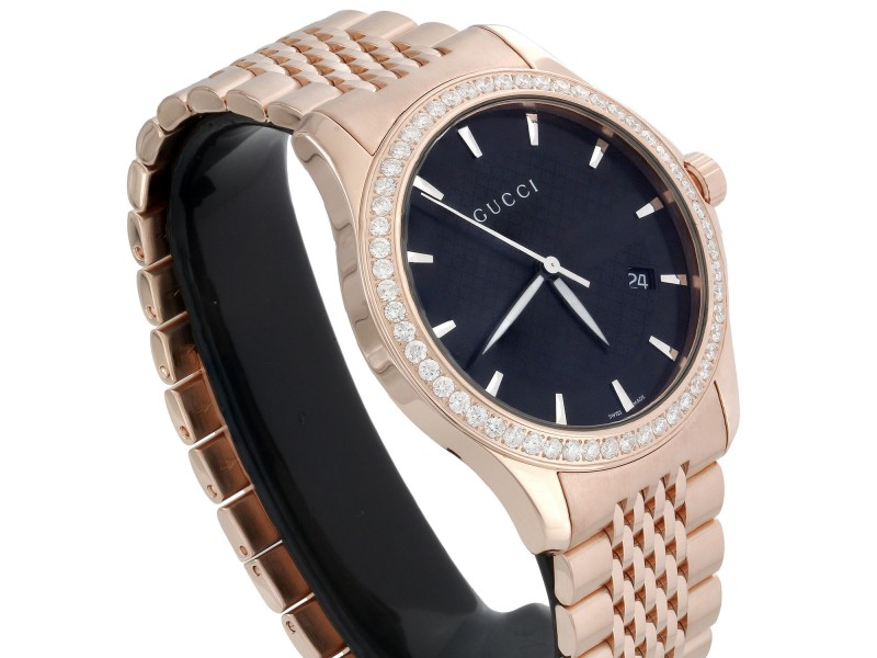 5c389ec4907 Gucci YA126402 Rose PVD Coated Stainless Steel with Black Dial 38mm Mens  Watch. 1