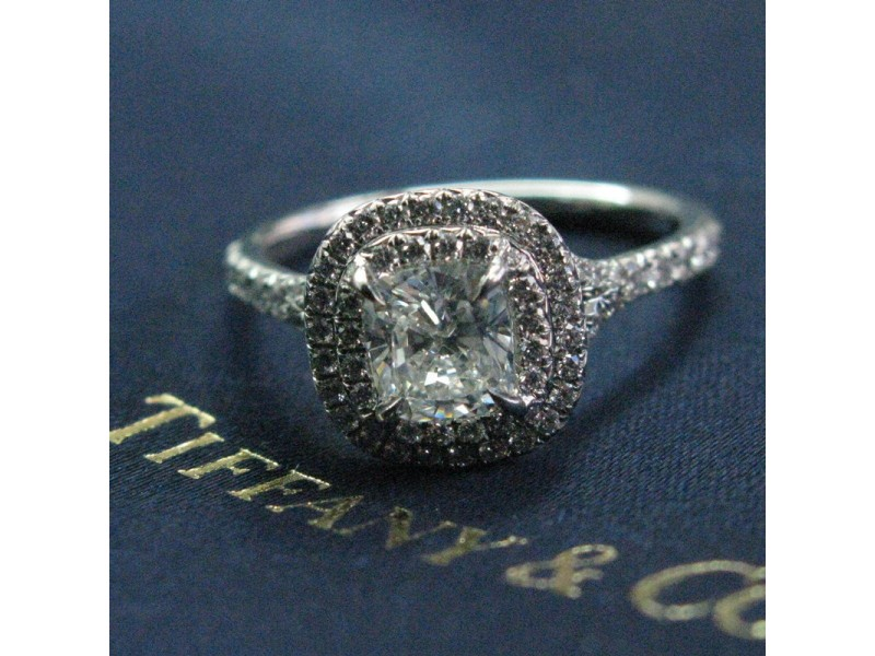 2d7be88f1a49 Tiffany   Co. 950 Platinum with Diamond Soleste Engagement Ring Size 4.5. 1